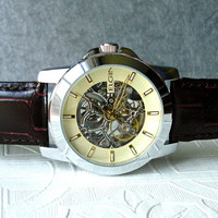 ELGIN AUTOMATIC Mechanical Wrist Watch Steampunk Nouveau  Skeleton Movement Silver Brown Leather Anniversary Mens Birthday Wedding Gift