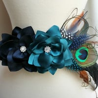 Bridal Gown Floral Sash- Navy Teal Dahlia - Peacock Mixed Feather Brooch - Crystal Rhinestones - Dress Sash - Many Colors