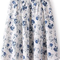 White Elastic Waist Floral A-Line Pleated Mini Skirt
