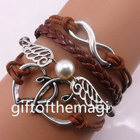 double heart,wings with pearl,& infinity karma Charm Bracelet Antique silver-- wax cords Leather bracelet--the best friendship gift 1061