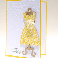 Yellow Floral Designer Dress On This Handcrafted Birthday Card