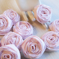 """2"""" Light Pink Shabby Chic Cotton Rolled Roses Bulk Set of 20 for bouquet making, diy weddings, shabby chic rustic weddings. Made to Order."""