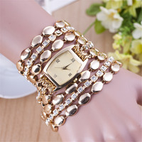 Lady Women Bracelet Watch Wrist Watches Vintage  Female Watches Fashion Gold Plated Quartz Wristwatch  Casual Watch