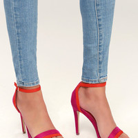 Anabel Fuchsia Suede Ankle Strap Heels