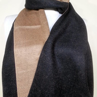 Men's Scarf, Double faced Scarf, Beige and Black Men's Scarf, Black and Beige Unisex Scarf - EV1410038