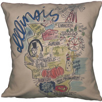 Southern Apparel and Serendipity Roadmap Pillow Illinois