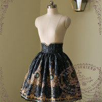 Ten O'Clock Cinderella, Rococo Lolita Elegant Gothic Steel Boned High Waist Skirt*2colors Instant Shipping