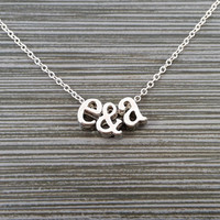 Silver Initial Necklace - Initial Ampersand Necklace - Personalized Necklace - Letter Necklace - Layering Necklace - Custom Name Necklace