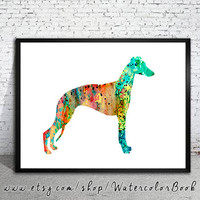 Greyhound Watercolor Print, Greyhound Illustration,watercolor painting,animal watercolor, Greyhound art, dog art, dog print, art print,