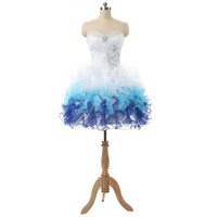 In Stock Pleat Beading Sweetheart Lace-up Back Mini Organza Sexy Cocktail Dresses