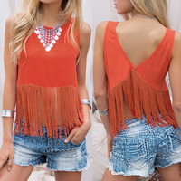 Orange Boho Fringe Crop Top