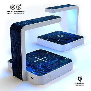 Electric Circuit Board UV Germicidal Sanitizing Sterilizing Wireless Smart Phone Screen Cleaner + Charging Station