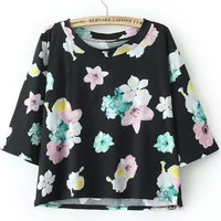 Floral Printed Crop Shirt in Black