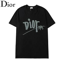 Dior Fashion New Embroidery Letter Women Men Top T-Shirt Black
