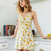 Florence Yellow Floral Halter Button Dress