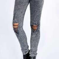 Rochelle Charcoal Ice Wash Ripped Knee Jeans