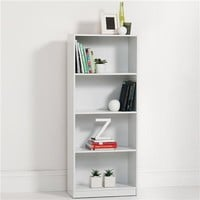 4 Tier White Bookshelf