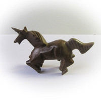 Lovely Handcrafted Malt Chocolate Colored Onyx Unicorn