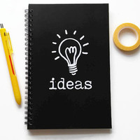 Writing journal, spiral notebook, bullet journal, black and white, sketchbook, blank lined or grid paper, lightbulb - Ideas