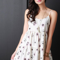 Daisy Print Backless Spaghetti Strap Flare Dress