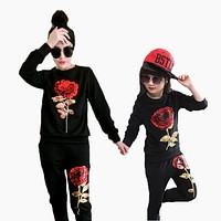 Family Matching Outfits Mother And Daughter Long Sleeve Rose Floral Sweatshirt+Pants Suit