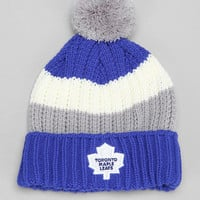 American Needle NHL Slope Stripe Maple Leafs Pom Beanie - Urban Outfitters