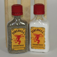 FireBall Salt and Pepper Shaker, Upcycled Liquor Bottles