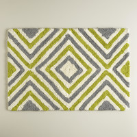 Oasis Green and Frost Gray Diamond Bath Mat