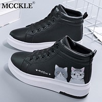 MCCKLE Women's High Top Sneakers Cute Women Lace Up Vulcanized Shoes Flat Ladies PU Woman Plush Warm Comfortable Hot Female New