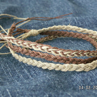 BROWN & NATURAL COLOR  Hemp Anklets or Bracelets   by Oklahoma405