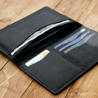 Mens leather wallet iPhone 5 clutch wallet billfold wallet black genuine leather wallet credit card wallet card holder wallet travel wallet