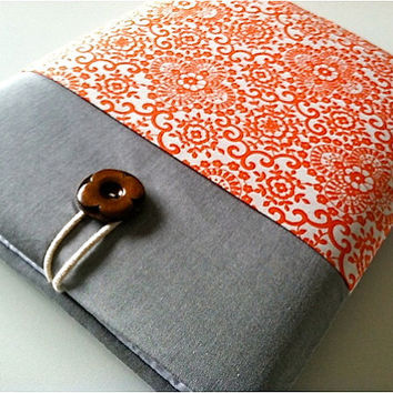 iPad Case, iPad Sleeve Cover with Pocket and Padded for any iPad - Coral Damask