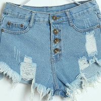 High Waist Breasted  Holes Tassel Denim Shorts 11931