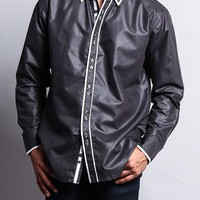 Solid Contrast Double Button Up Shirt