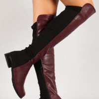 Women's Bamboo Two Tone Round Toe Riding Thigh High Boot