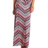 Geometric Chevron Print Maxi Skirt by Charlotte Russe - Multi