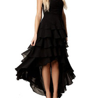Black Ruffle Layered High-Low Tube Dress