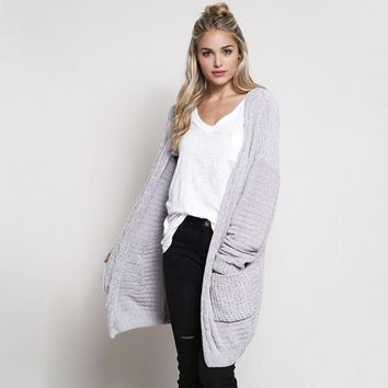 textured chenille knit shawl cardigan - silver