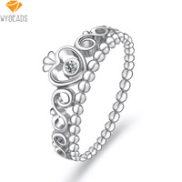 Unique Silver My Princess Stackable Rings With Clear CZ Ring Finger For Women Female Party Gift Fashion Original Jewelry Making