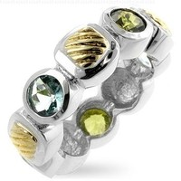 14K White & Yellow Gold Rhodium Plated Ring with Blue & Green CZs- Sizes 6-8:Amazon:Jewelry