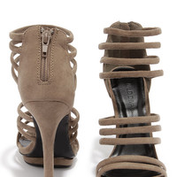 You Better Step Taupe Suede Caged Heels