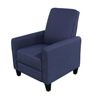 Navy Blue Cotton Upholstered Club Chair Push Back Recliner
