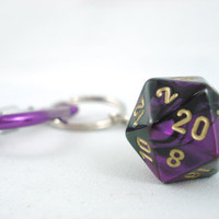 Premium Gemini Metallic Purple Black and Gold D20 by angelyques