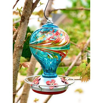 Large Blue Egg with Flowers Hand Blown Glass Hummingbird Feeder - Holds 36 oz of Nectar
