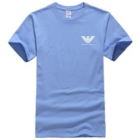 Emporio Armani New fashion bust side letter print couple top t-shirt Blue