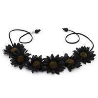 The Toni Daisy Flower Crown in Black