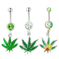 Belly Ring Leaf Stainless Steel Accessory Pendant [9022291588]