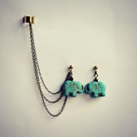 turquoise elephant ear cuff earrings