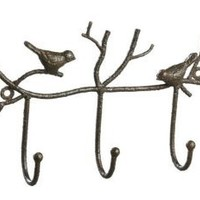 Creative Co-Op Metal Twig and Bird Wall Hooks, Rust