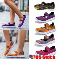 Breathable Women Summer Sport Slip On Elastic Flat Shoes Casual Sandals Size USA